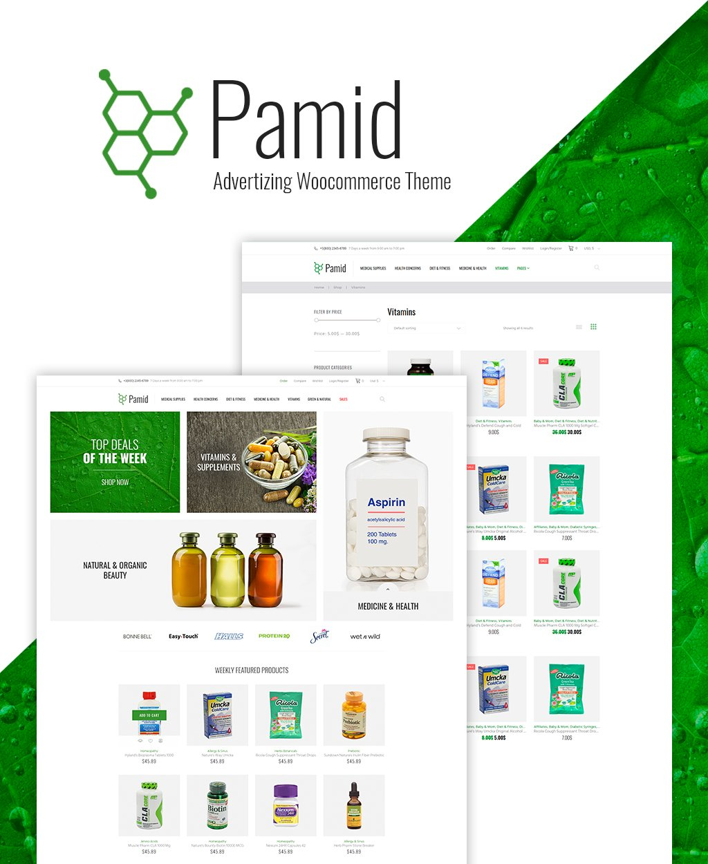 Responsywny motyw WooCommerce Pamid - Drug Store Responsive WooCommerce Theme #64146 - zrzut ekranu