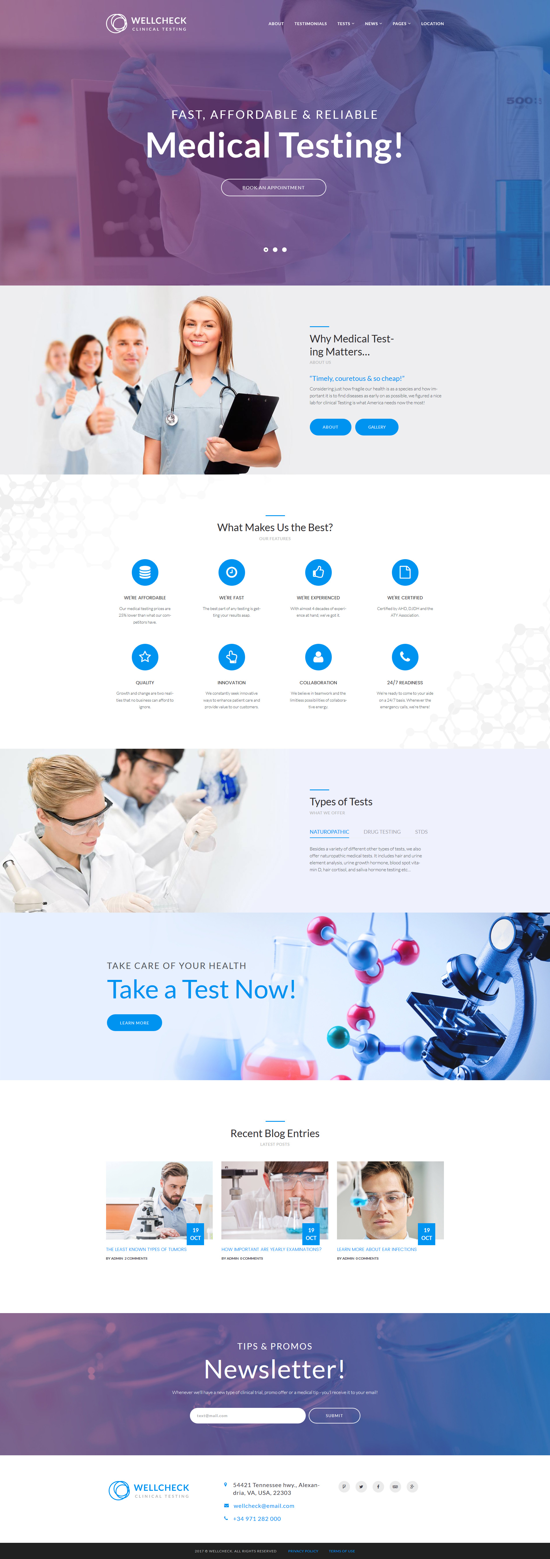 Reszponzív MediCheck - Medical Laboratory Responsive WordPress sablon 64121