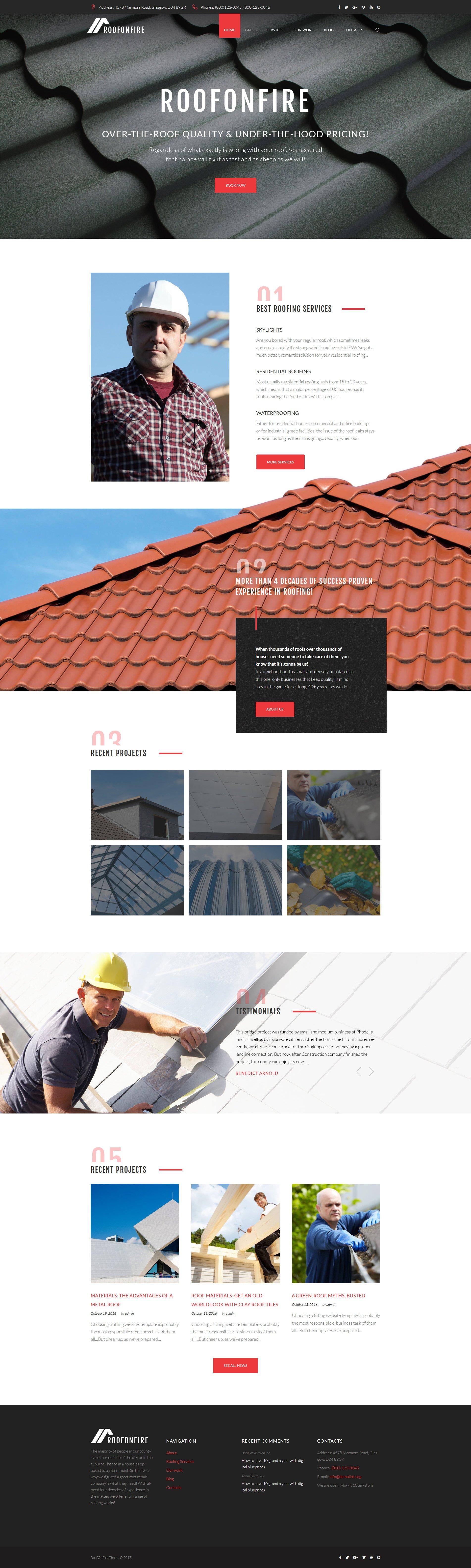 RoofOnFire - Roofing Company Responsive WordPress Theme - screenshot