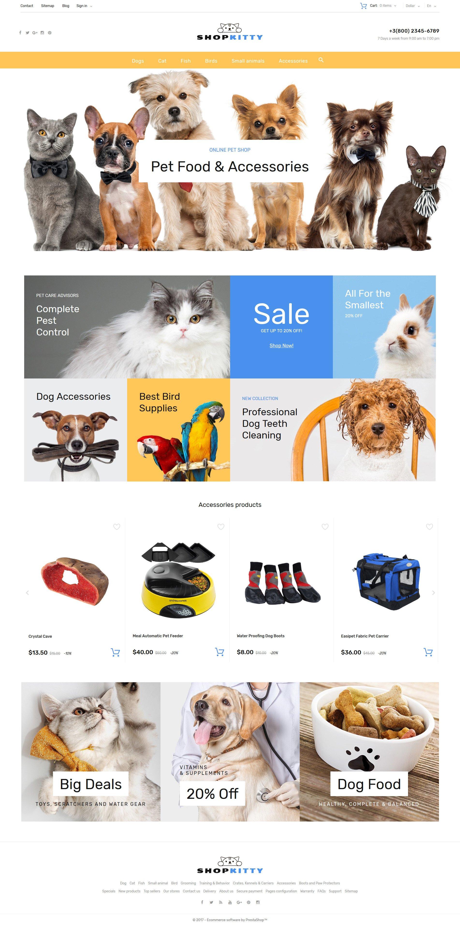 """""""ShopKitty"""" - адаптивний PrestaShop шаблон №64107"""