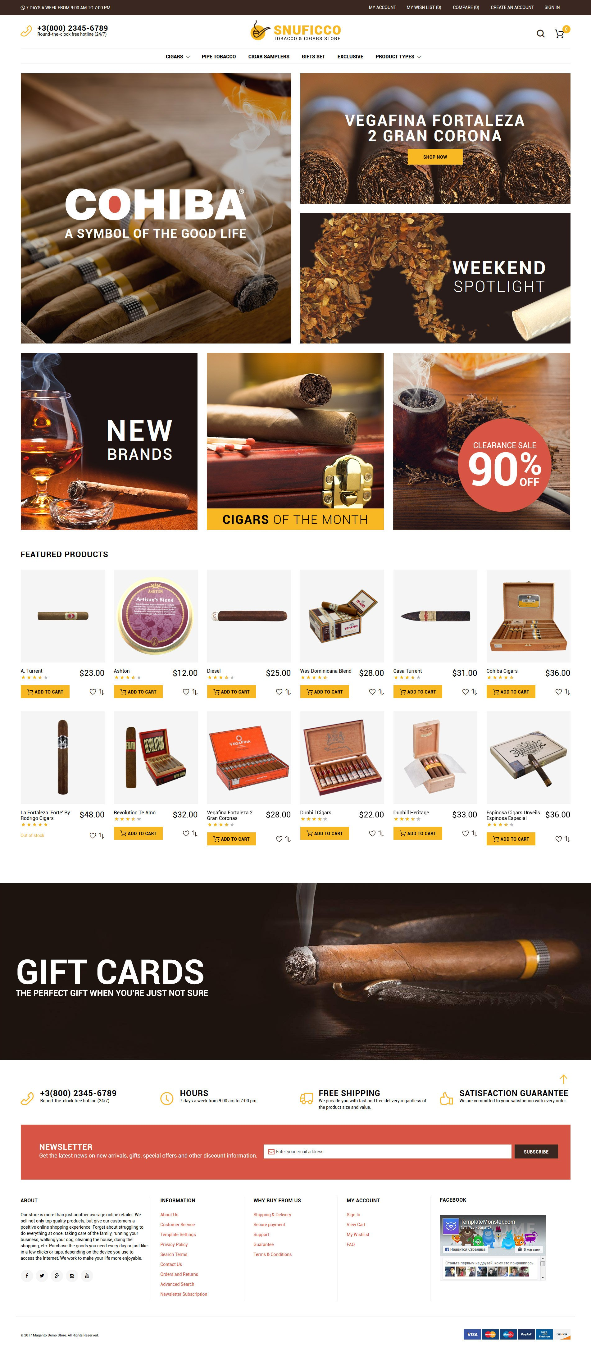 """""""Snuficco - Tobacco & Cigars Store Responsive Magento 2 Theme"""" 响应式Magento模板 #64150"""