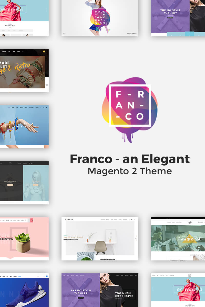 "Tema Magento ""Franco - Elegant Magento 2 and 1 Theme"" #64158"