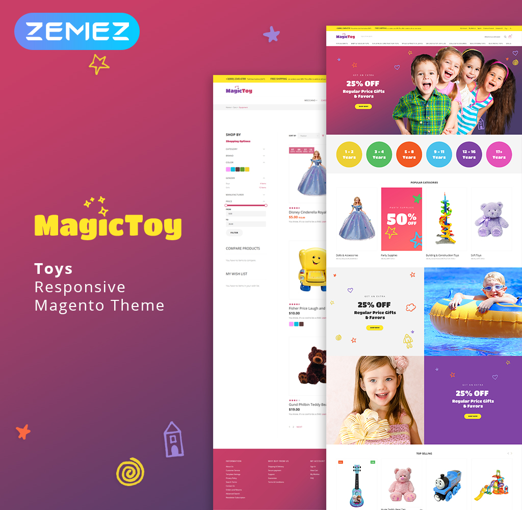 """Template Magento Responsive #64135 """"MagicToy - Baby Toys"""""""