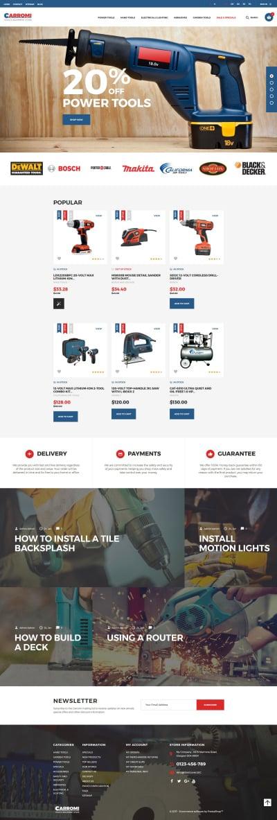 Thème PrestaShop adaptatif  pour site d'outils et d'équipement #64144
