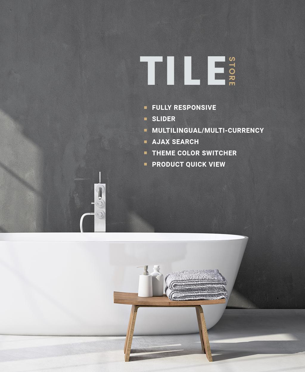 """Tile & Stone Responsive"" 响应式OpenCart模板 #64164 - 截图"