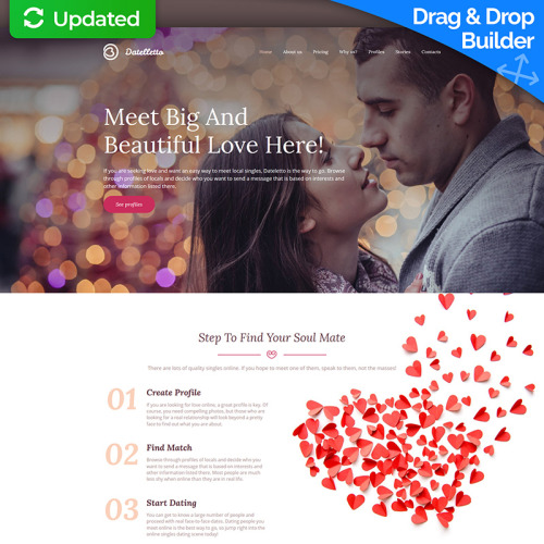 Datelletto - Dating Premium - MotoCMS 3 Template based on Bootstrap