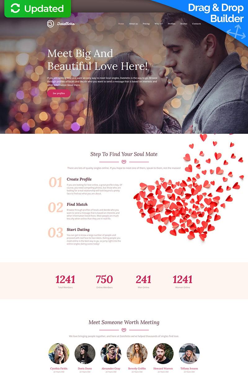 """Datelletto - Dating Premium"" 响应式Moto CMS 3 模板 #64208 - 截图"
