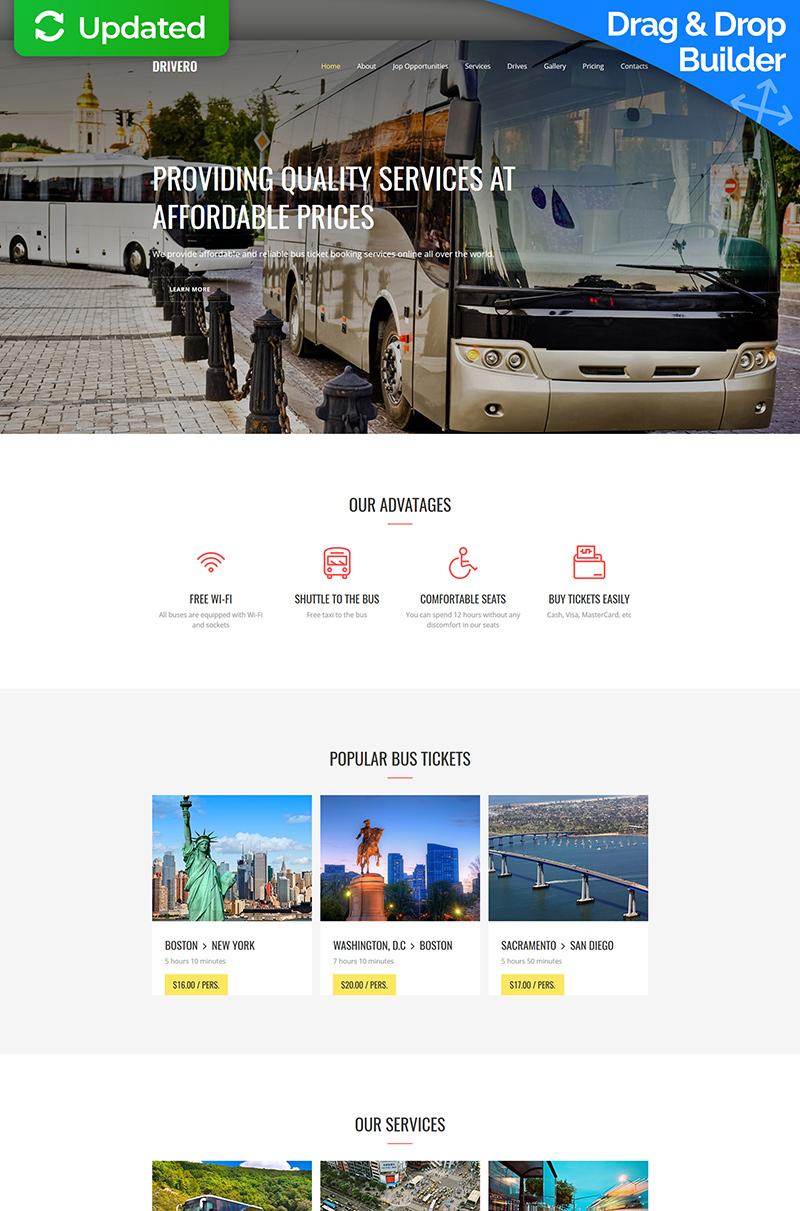 """Drivero - Bus Company Premium"" 响应式Moto CMS 3 模板 #64212"