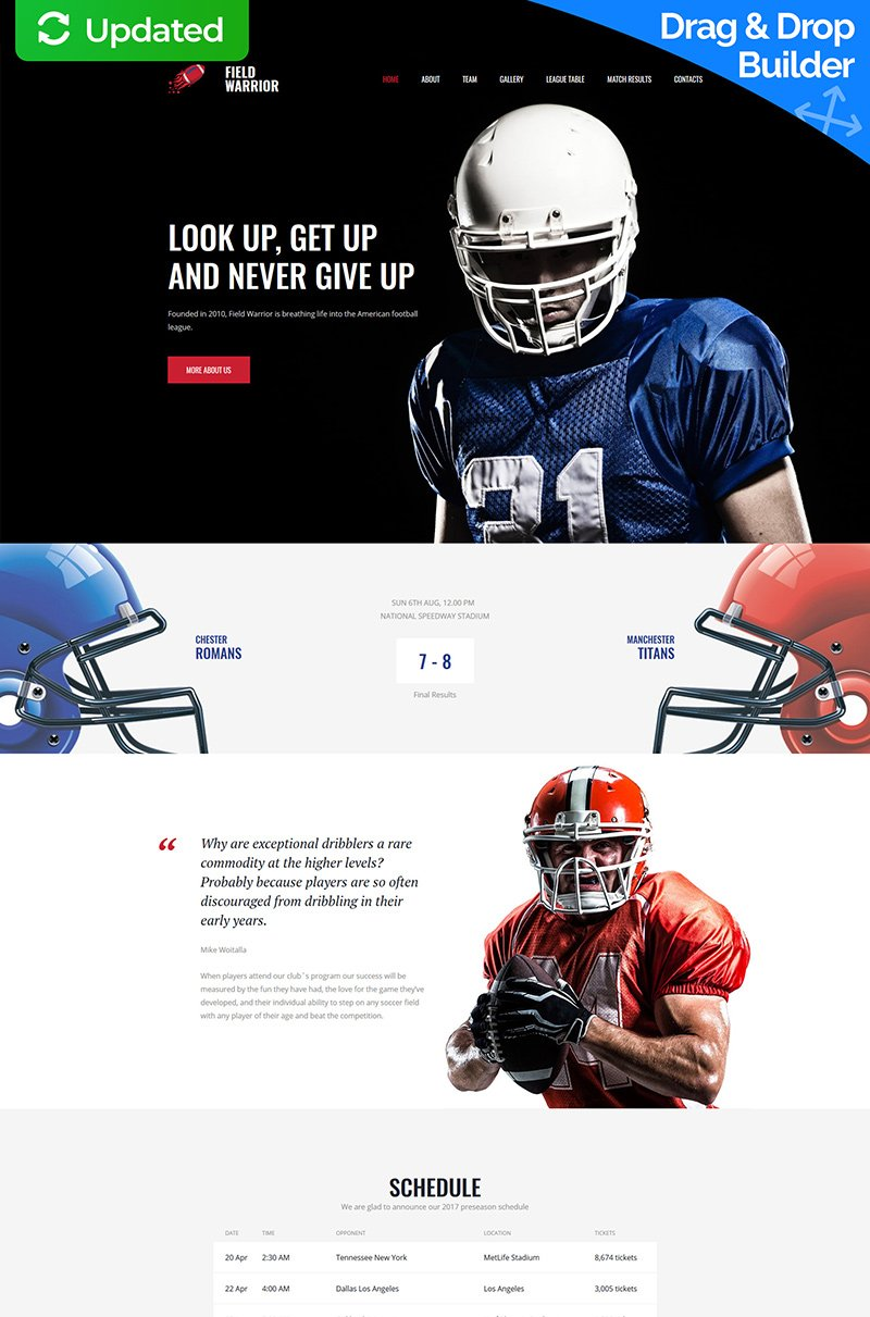 Field Warrior - American Football Premium Moto CMS 3 Template