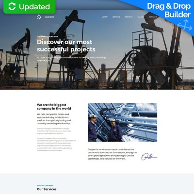 Oil And Gas Newsletter Template on drilling rigs, project stages infographic, business plan, front cover design, drilling trucks, business cards, services company,