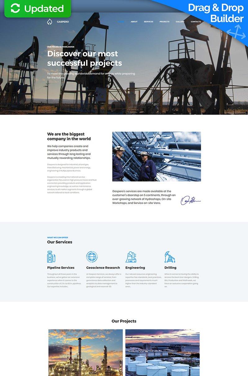 """""""Gaspero - Oil & Gas Company Premium"""" Responsive Moto CMS 3 Template №64211"""