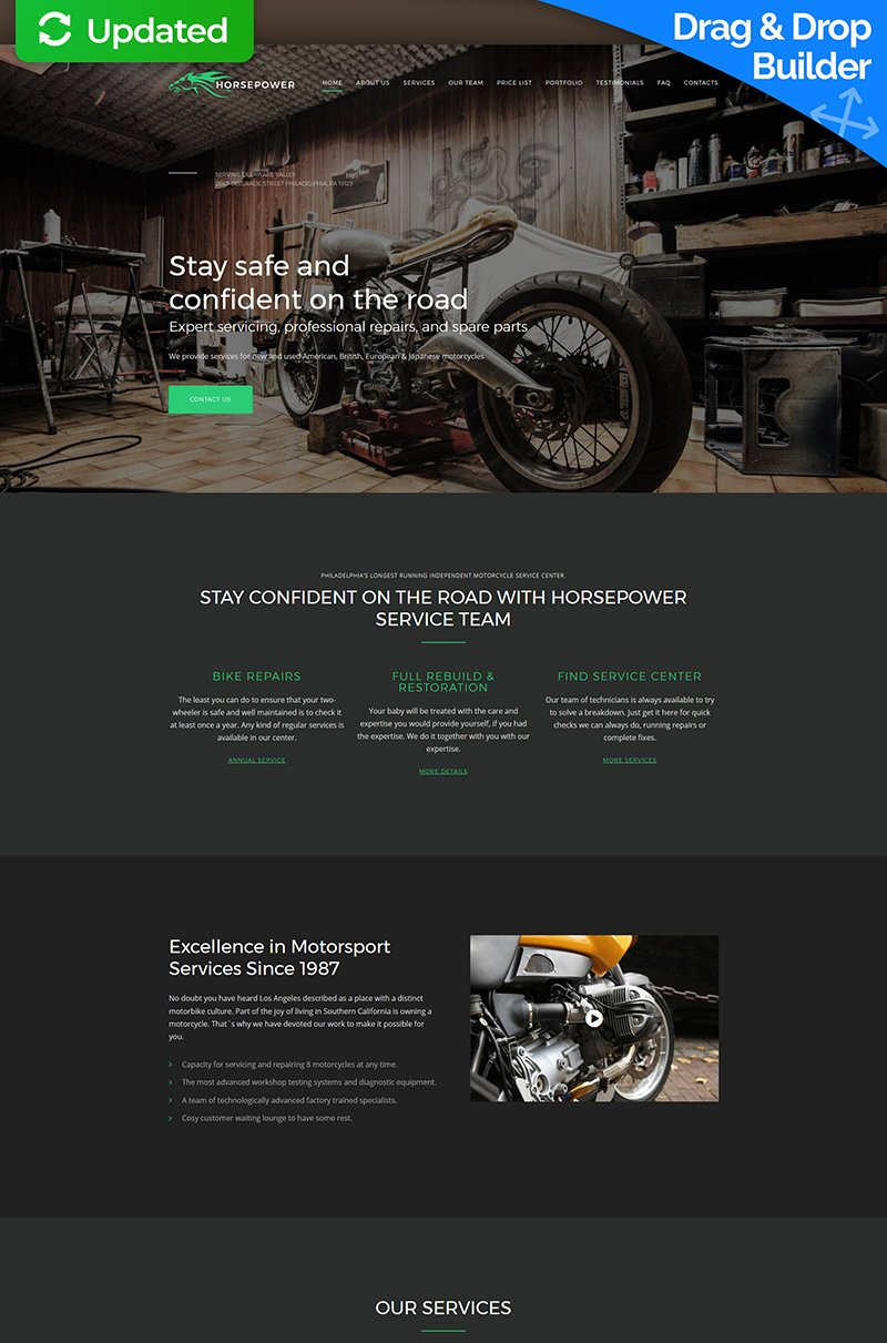 """Horsepower - Motorcycle Repairs Premium"" modèle Moto CMS 3 adaptatif #64205"