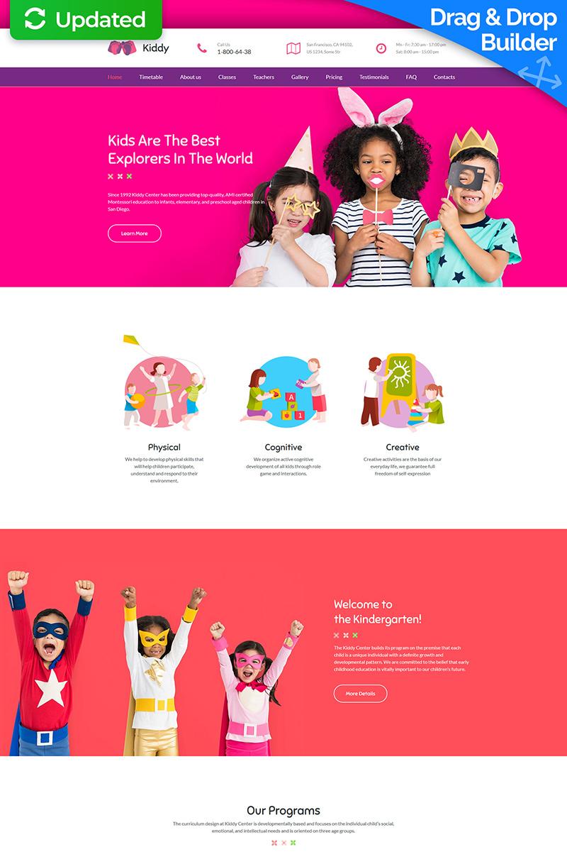 """Kiddy - Kids Center & Kindergarten Premium"" Responsive Moto CMS 3 Template №64203"