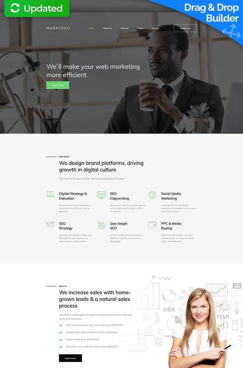"""Markeseo - Digital Marketing Agency Premium"" 响应式Moto CMS 3 模板 #64214"