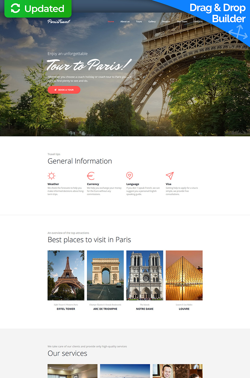 "Moto CMS 3 Template namens ""Paris Travel Agency Premium"" #64201"