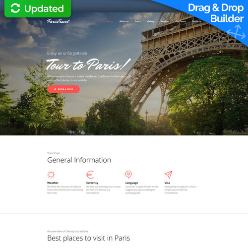 Paris Travel - MotoCMS 3 Template based on Bootstrap