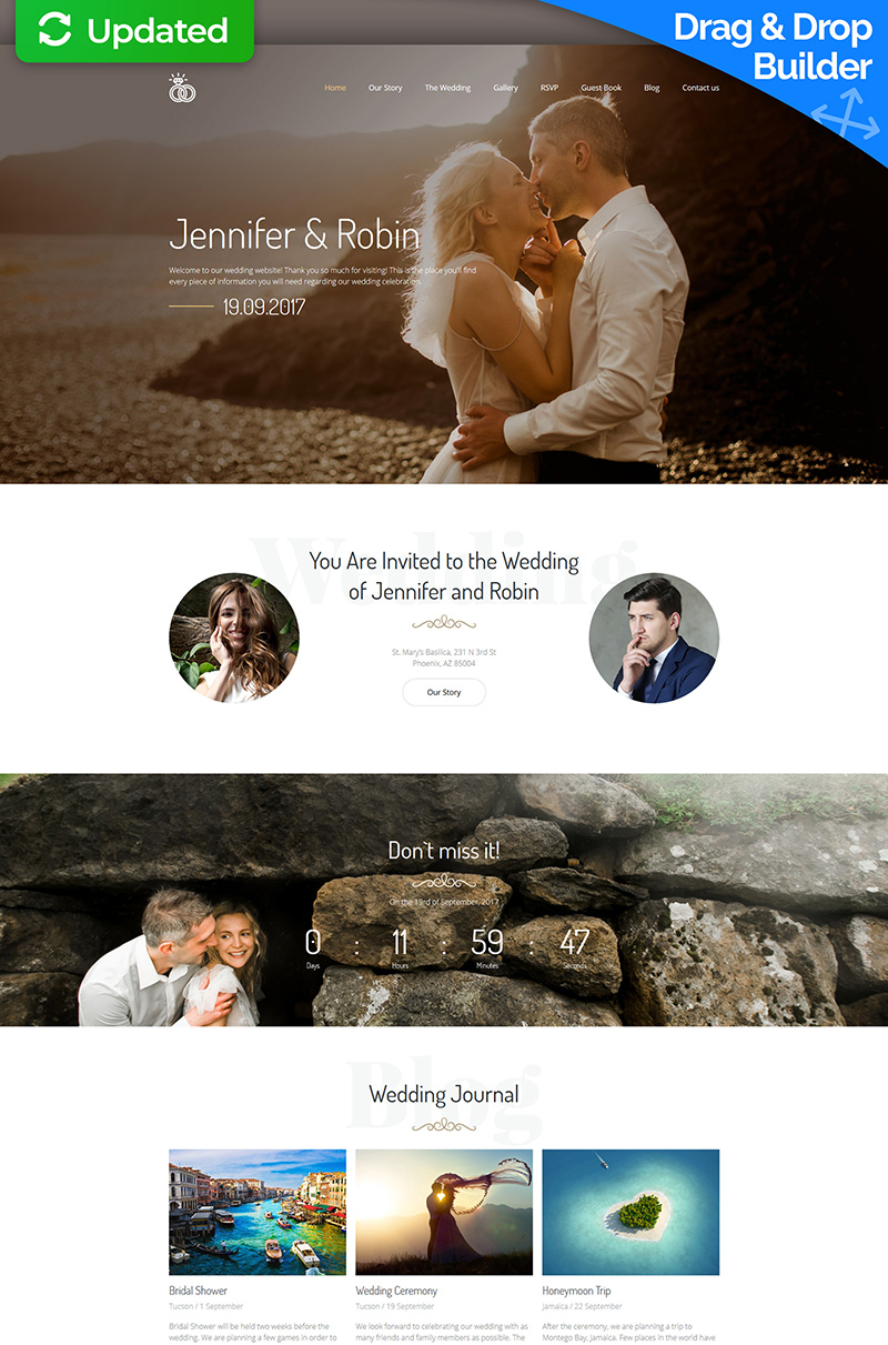 "Plantilla Moto CMS 3 ""Jennifer & Robin - Wedding Premium"" #64204"