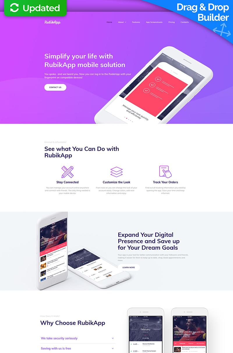 Reszponzív RubikApp - Mobile App Premium Moto CMS 3 sablon 64210