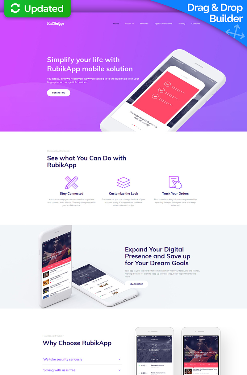 RubikApp - Mobile App Premium Moto CMS 3 Template
