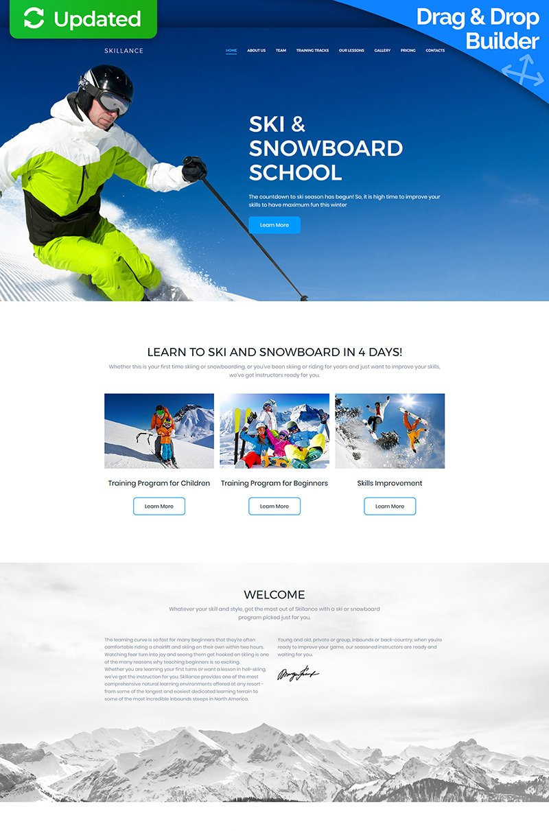 Ski & Snowboard School Premium Moto CMS 3 Template