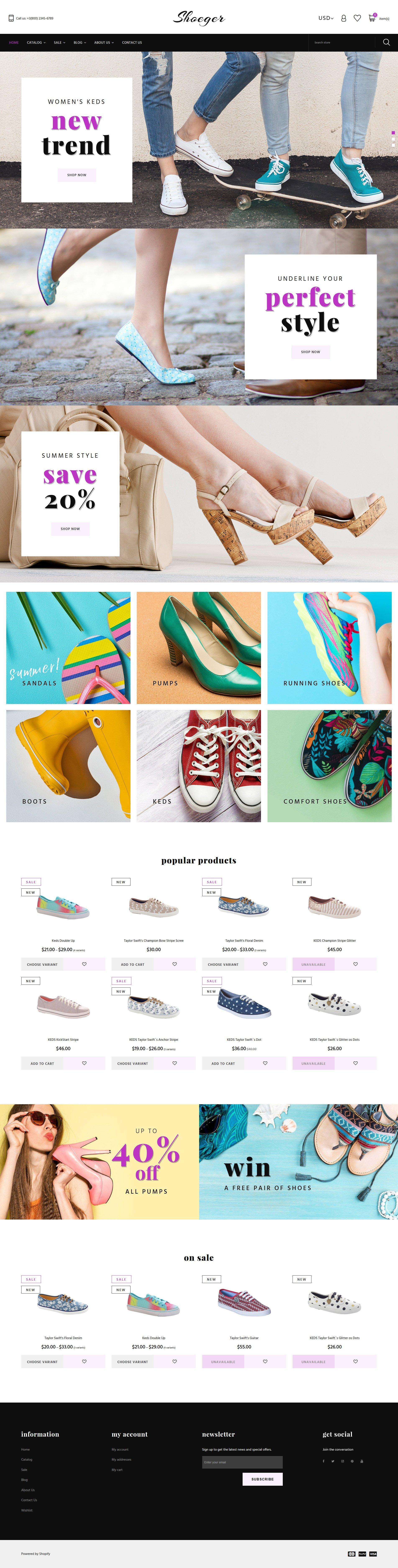 Адаптивный Shopify шаблон №64380 на тему магазин обуви