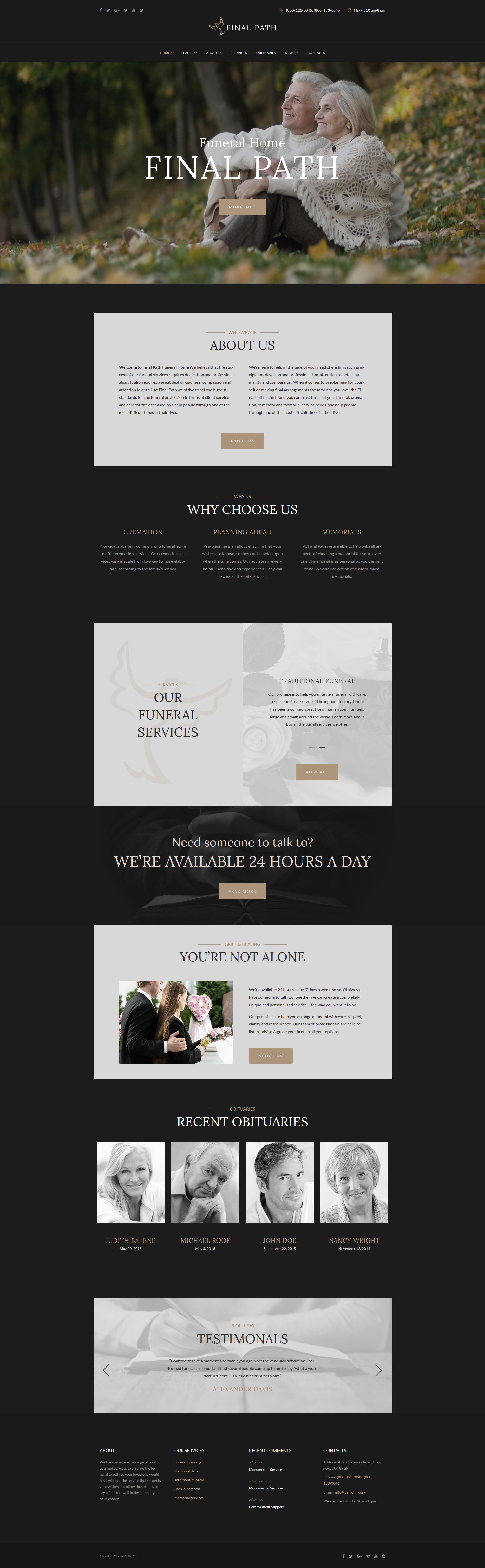 Адаптивный шаблон сайта на тему ритуальные услуги #64353