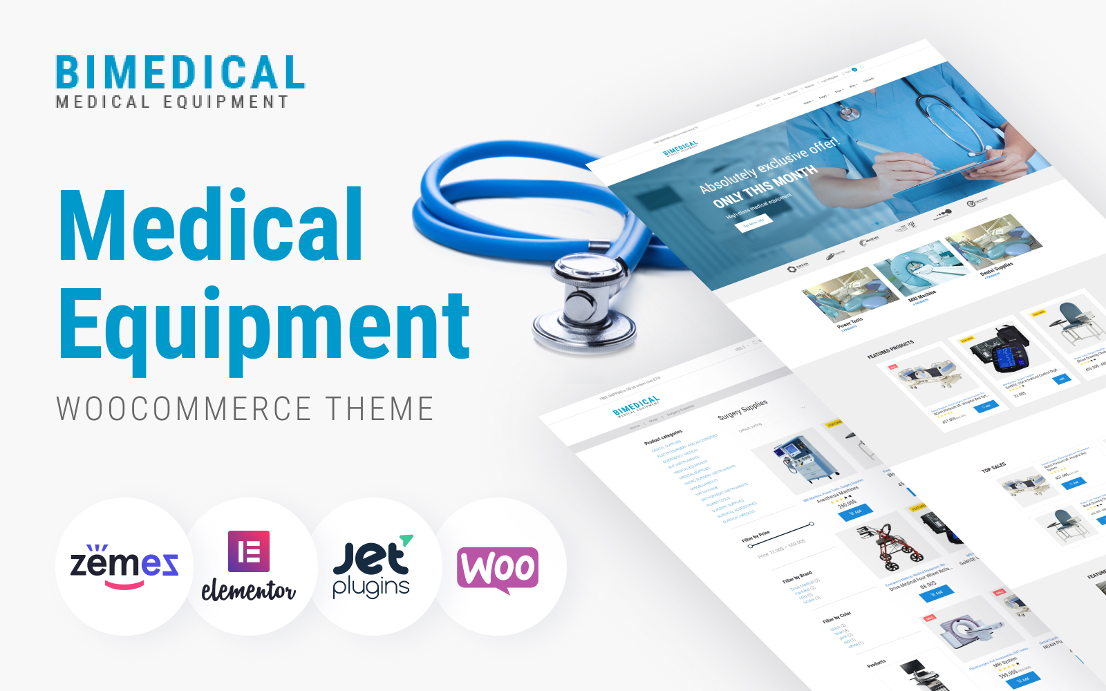 """Bimedical- Medical Equipment Responsive"" 响应式WooCommerce模板 #64363"