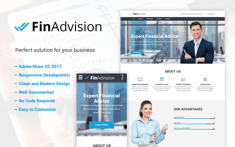 FinAdvision - Adobe Muse CC 2017 template Muse Template Big Screenshot