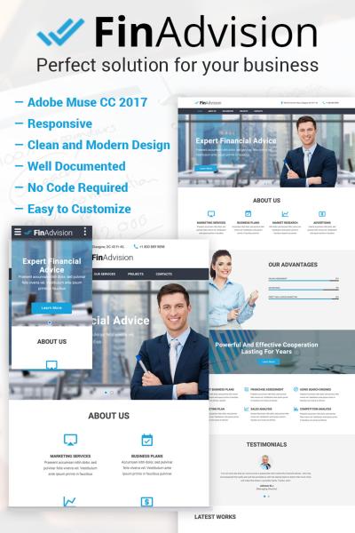 """FinAdvision - Financial Advisor Adobe CC 2017"" modèle Muse adaptatif #64371"