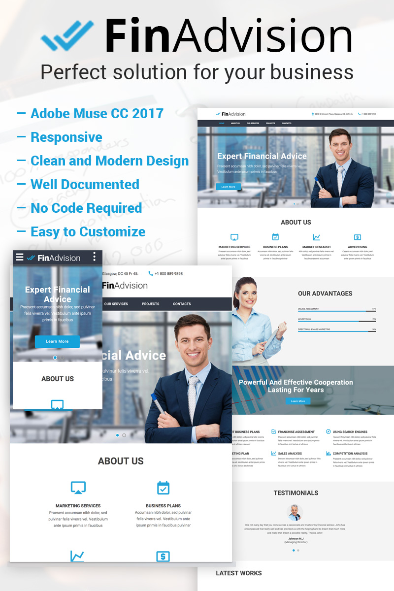"""FinAdvision - Financial Advisor Adobe CC 2017"" Responsive Muse Template №64371"