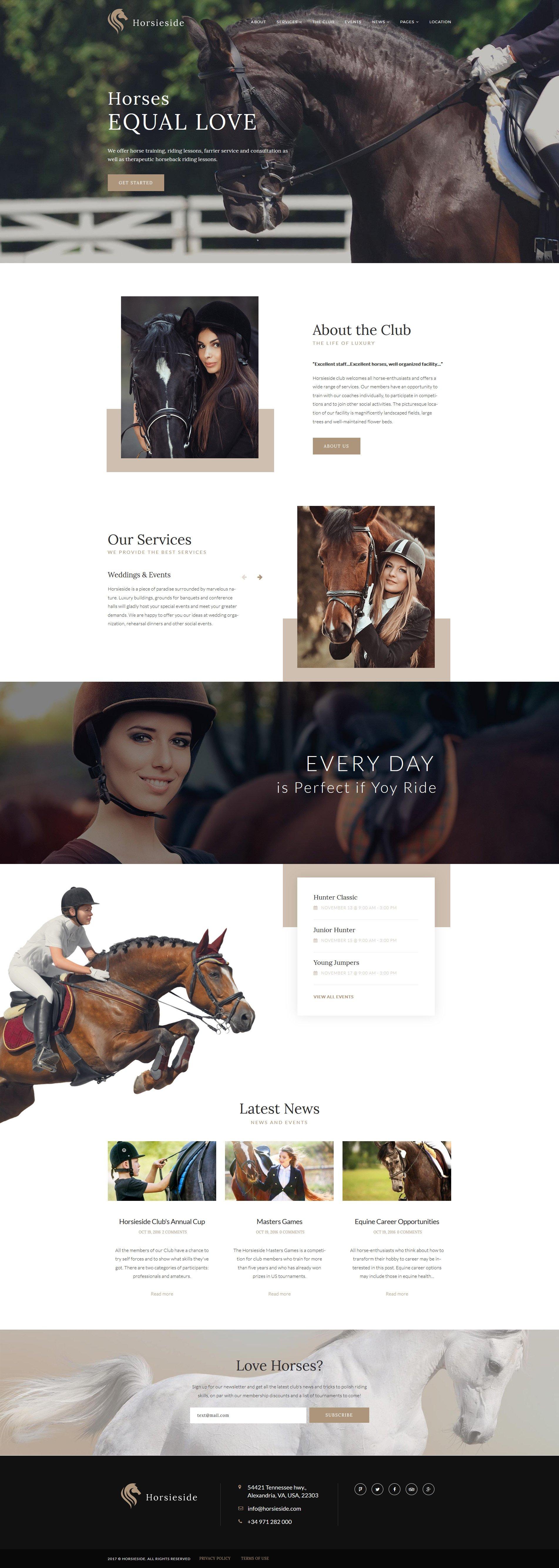 Horsieside - Equestrian Center Responsive Tema WordPress №64356