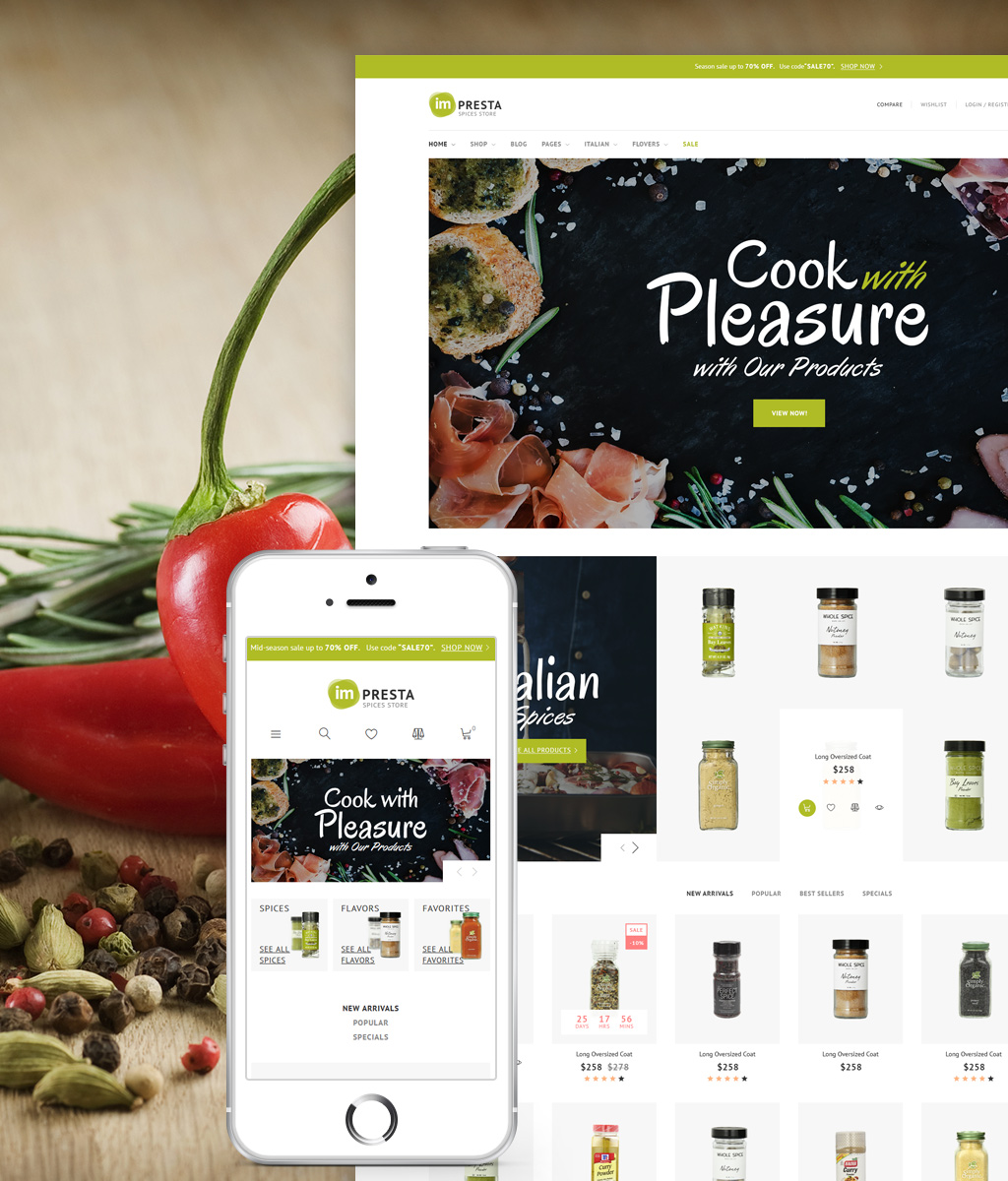 """""""Impresta - Spices Store"""" 响应式PrestaShop模板 #64388"""