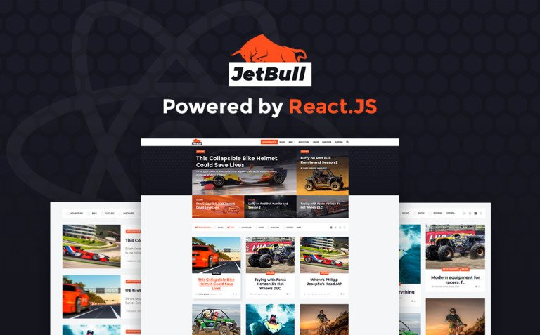 JetBull - Extreme Racing Responsive React.js Powered WordPress Theme New Screenshots BIG