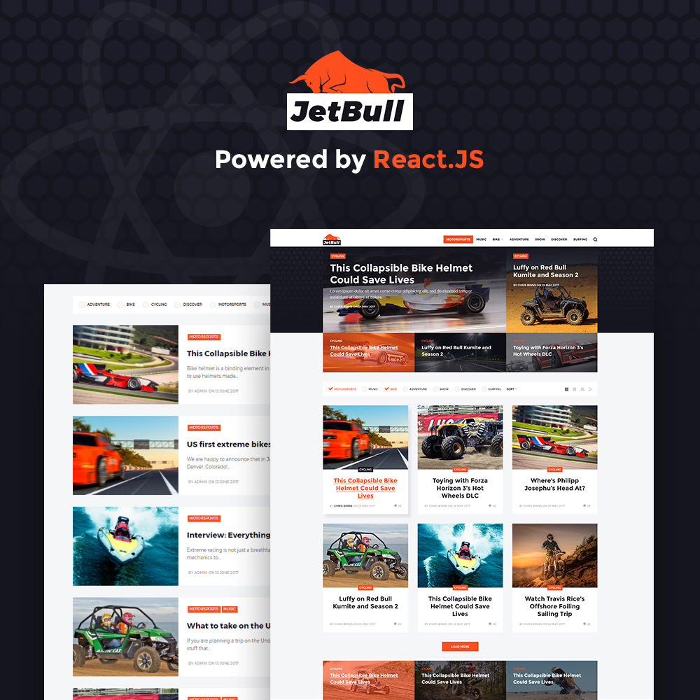 """JetBull - Extreme Racing Responsive React.js Powered"" 响应式WordPress模板 #64361"