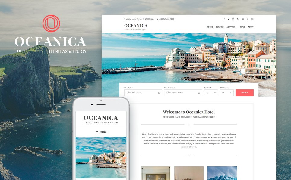 """Oceanica - Hotel Booking"" - WordPress шаблон №64367"