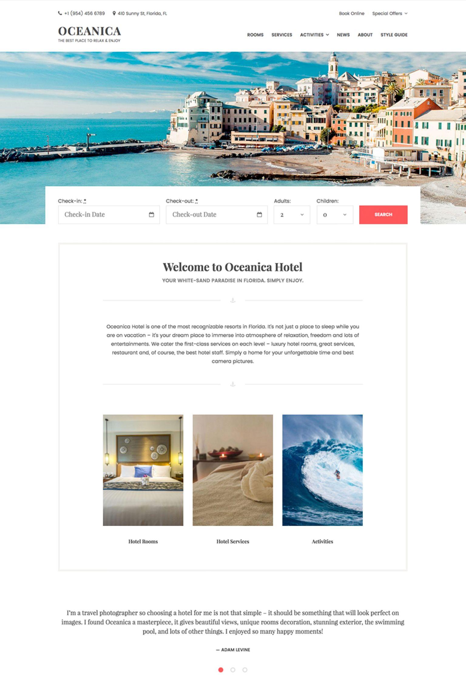 Oceanica - Hotel Booking WordPress Theme - screenshot