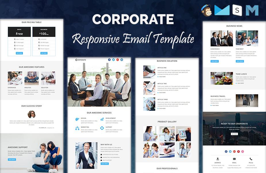 """Plantilla De Boletín De Noticias """"CORPORATE - Responsive Newsletter Template"""" #64368"""