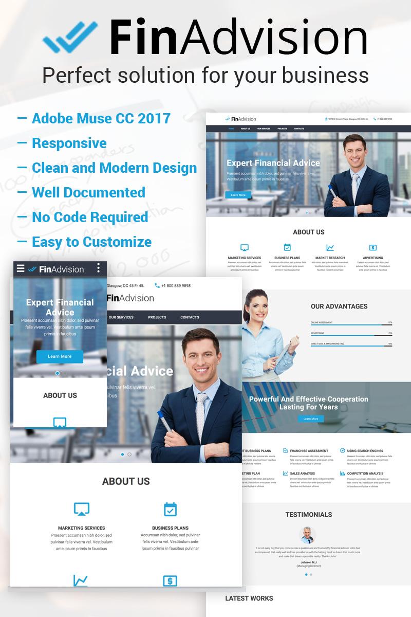 "Plantilla Muse ""FinAdvision - Financial Advisor Adobe CC 2017"" #64371"