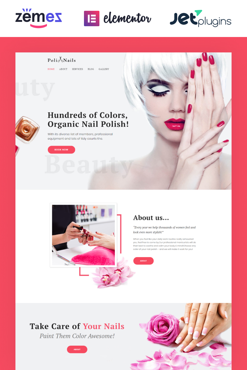 """Poli Nails - Nail Salon with Great Widgets and Elementor"" Responsive WordPress thema №64390"