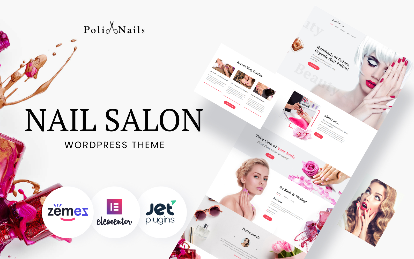 """Poli Nails - Nail Salon with Great Widgets and Elementor"" 响应式WordPress模板 #64390"