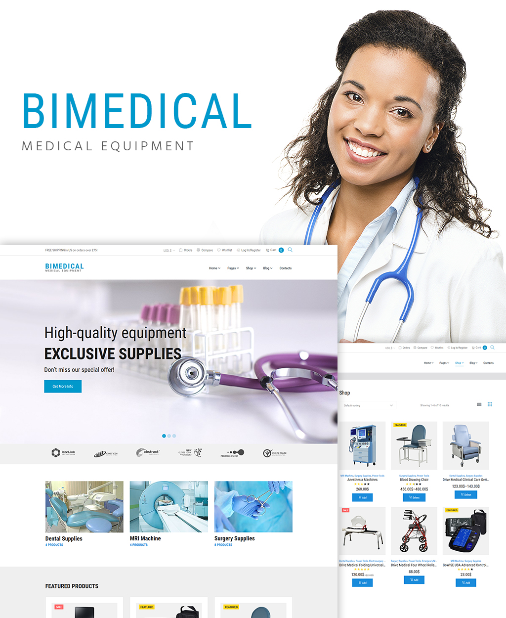 Responsive Bimedical- Medical Equipment Responsive WooCommerce Theme #64363