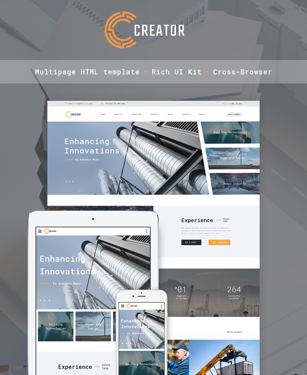 Responsivt Creator - Civil Engineering Multipage Hemsidemall #64346
