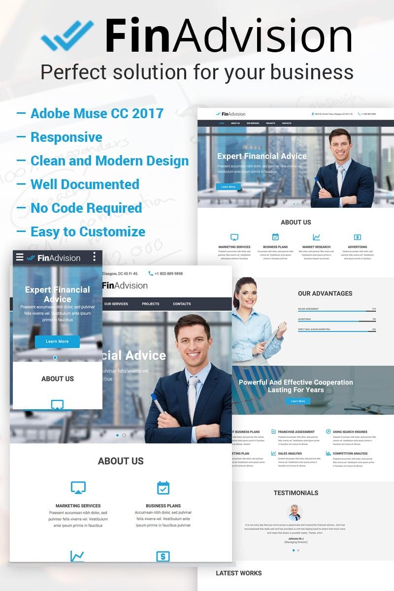 Reszponzív FinAdvision - Financial Advisor Adobe CC 2017 Muse sablon 64371