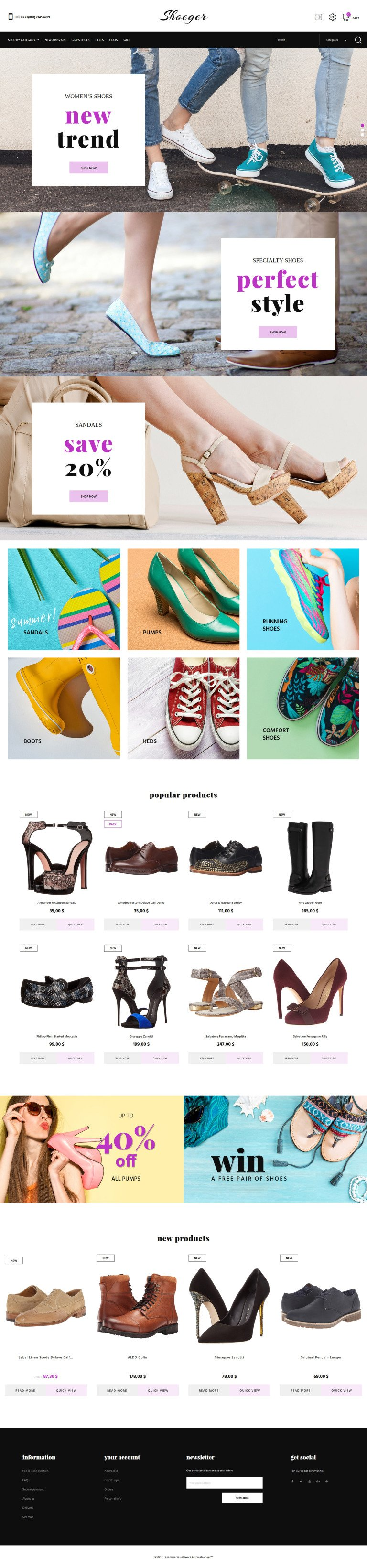 Shoe Store Responsive PrestaShop Theme New Screenshots BIG