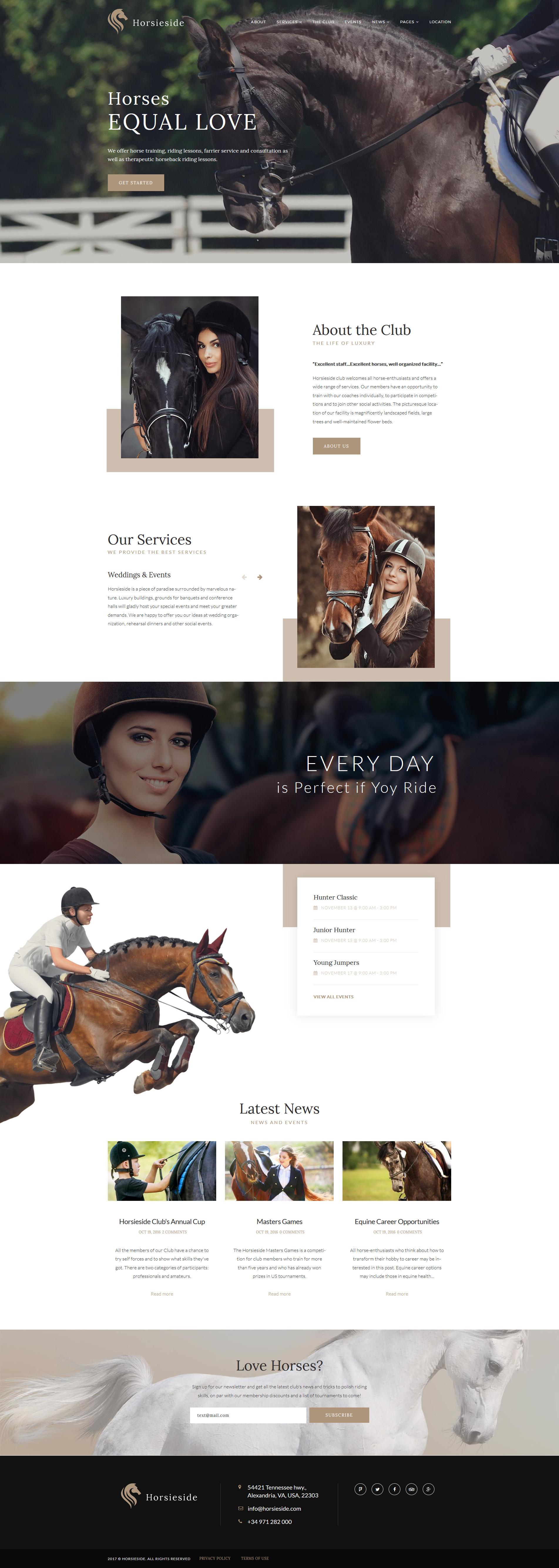 "Tema WordPress Responsive #64356 ""Horsieside - Equestrian Center Responsive"""