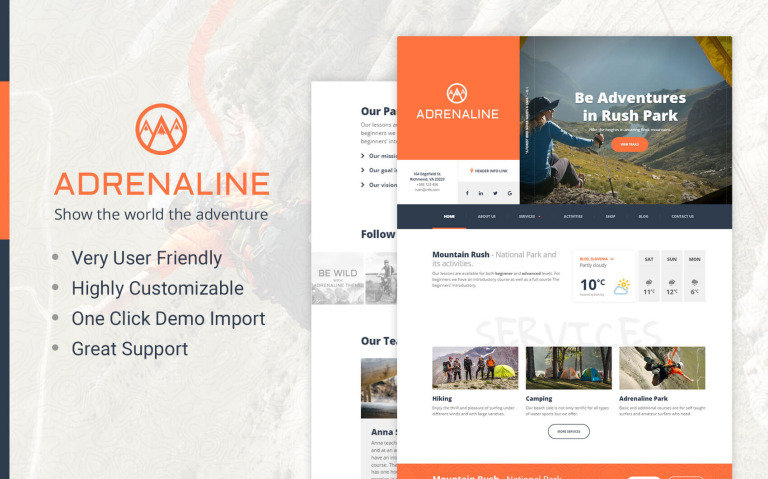Adrenaline - WordPress theme for adrenaline sports businesses WordPress Theme Big Screenshot