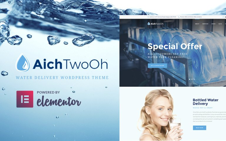 AichTwoOh - Water Delivery Service Responsive WordPress Theme New Screenshots BIG