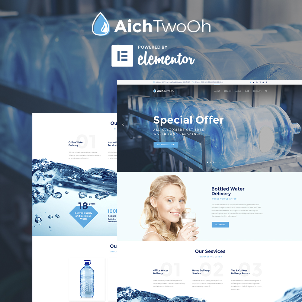AichTwoOh - Water Delivery Service Responsive WordPress Theme - screenshot