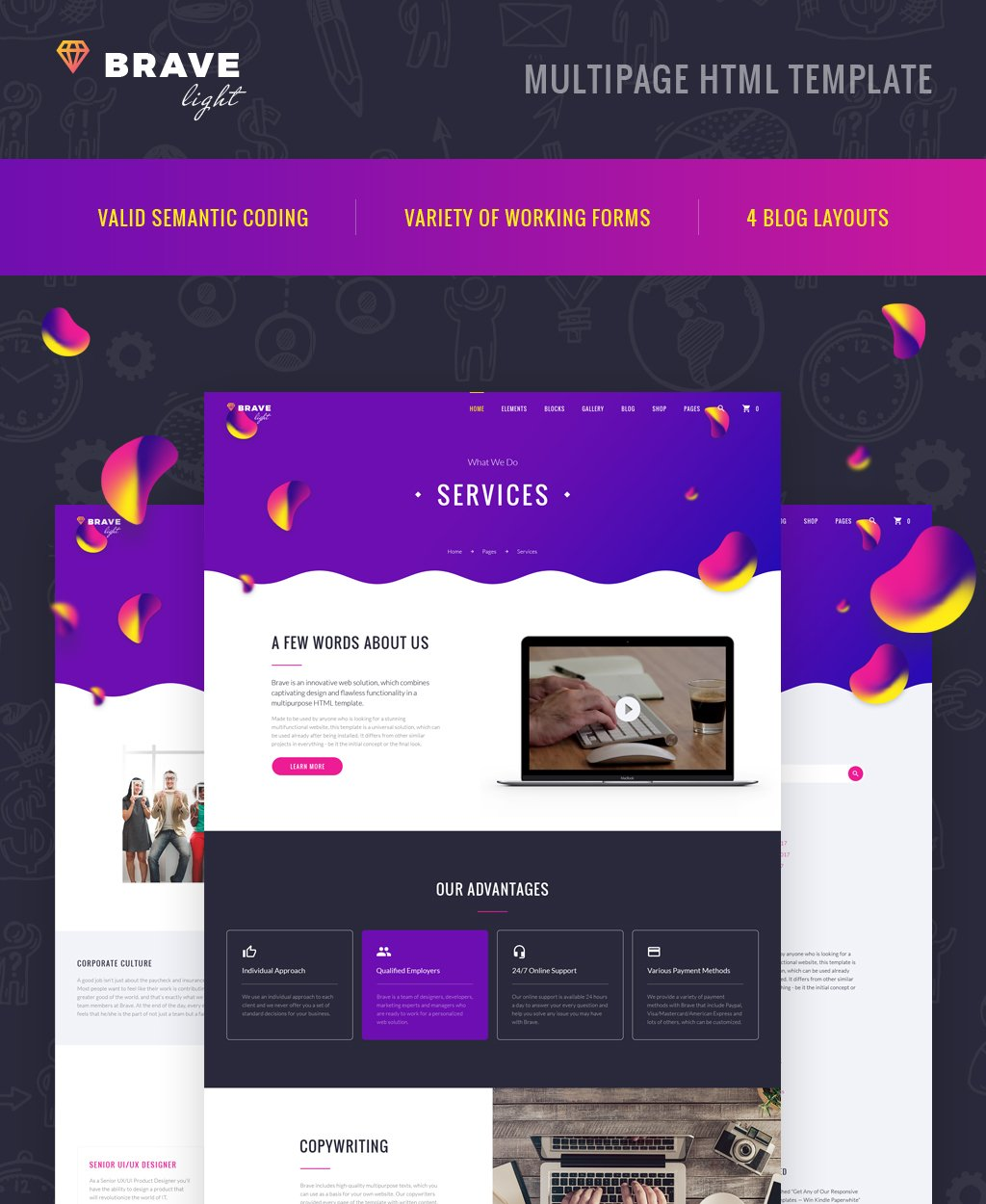 """Brave Light - Creative Universal Multipurpose"" Responsive Website template №64402"
