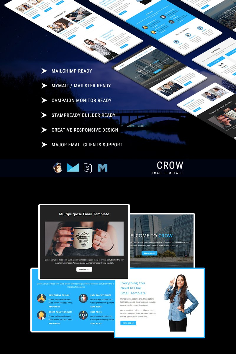 """""""CROW - Responsive Email Template"""" modèle Bulletin  #64499"""